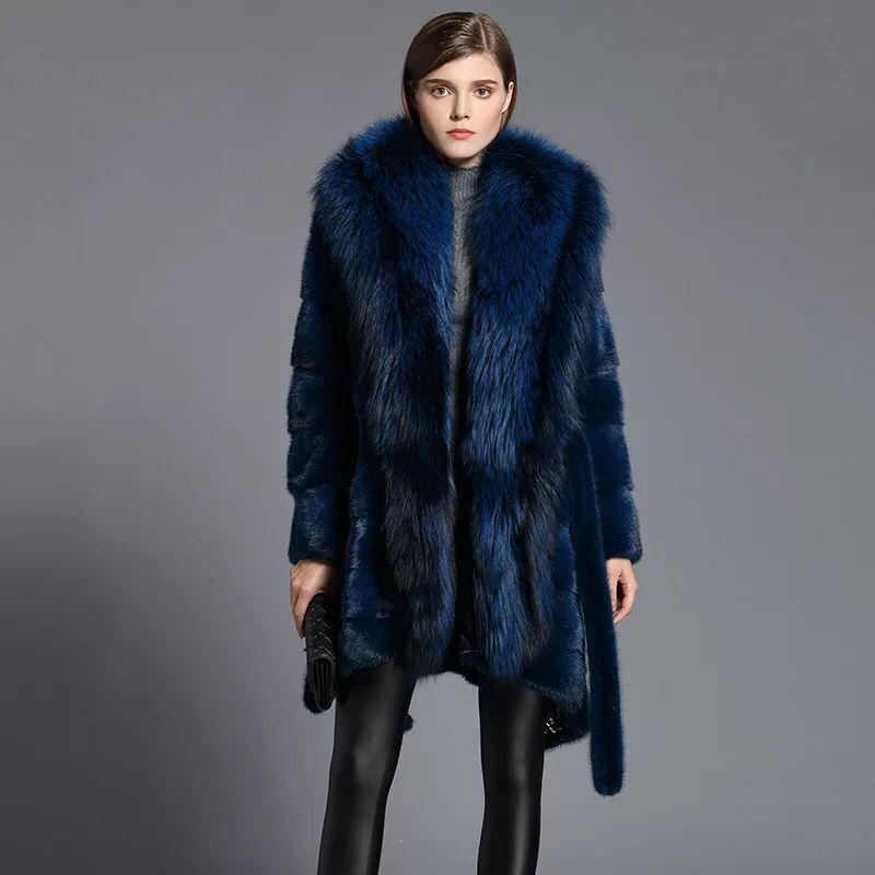 HDHOHR 2020 High Quality Real Mink Fur Coats Full Pelt Fashion Natural Mink Fur Jackets Winter Female With Hood Fur Warm Jacket