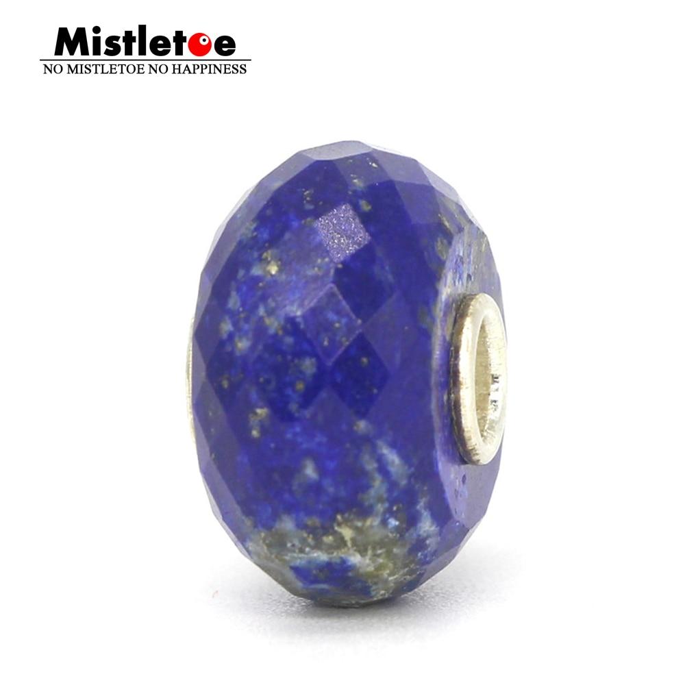 Pulsera de plata de ley 925 auténtica de muérdago con facetas naturales de lapislázuli, abalorio de piedra compatible con trol europeo de 3,0mm, joyería