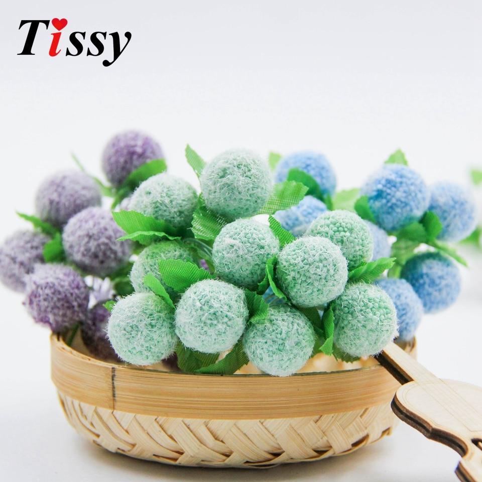 10 unids/lote Mini Artificial Berry de estambre de Scrapbooking flor para casa decoración boda caja de dulces manualidades suministros