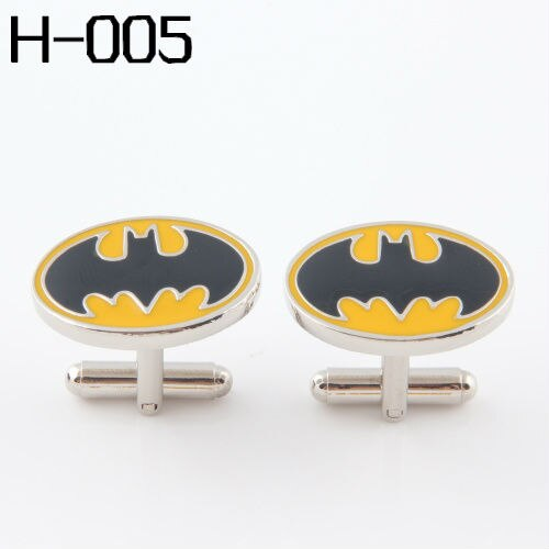 Men's accessories Fashion Cufflinks FREE SHIPPING:SUPERHERO Cufflinks FOR MEN  BATMAN YELLOW AND BALCK Wholesales