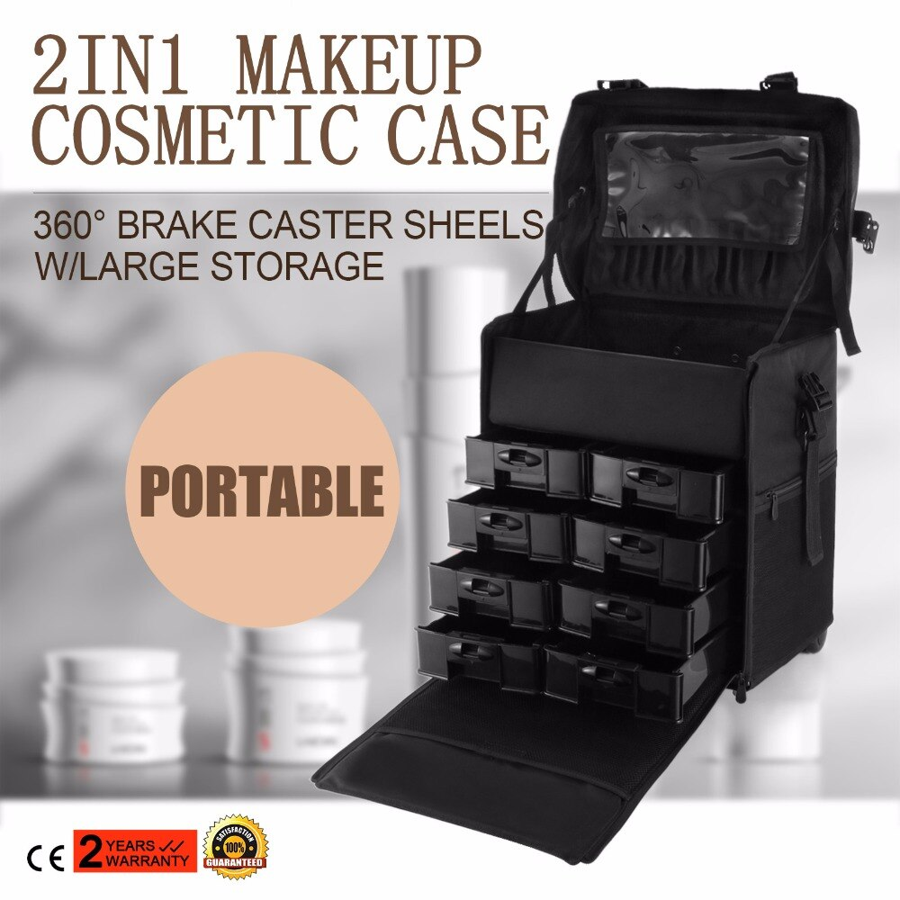 Estuche de maquillaje 2 en 1, bolsa de peluquería rodante, carrito de belleza, caja de cosméticos para uñas