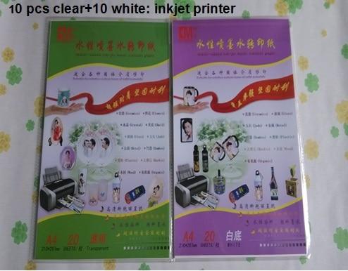 (10 прозрачных + 10 белых)/лот струйная бумага для струйной печати на водной основе