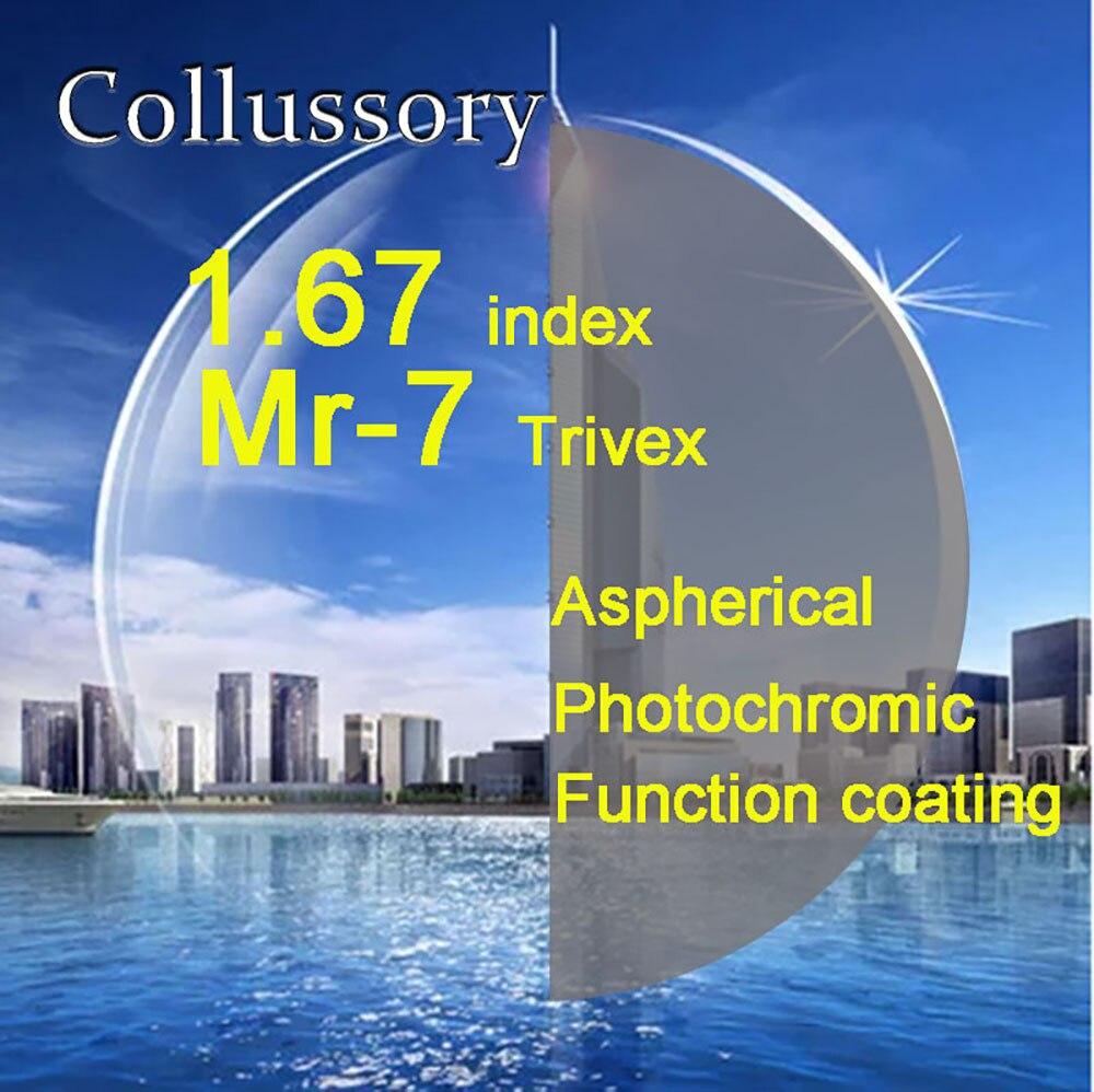 1,67 índice Trivex MR-7 gafas de prescripción óptica asféricas gris fotocromático de alta calidad de color fino HMC EMI Trimming Len