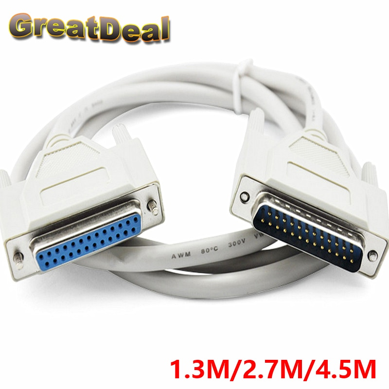 25Pin DB25 paralelo macho a hembra impresora LPT DB25 Cable de la computadora cable printerextensible 25 Pin 2,7 M 4,5 M HY1563