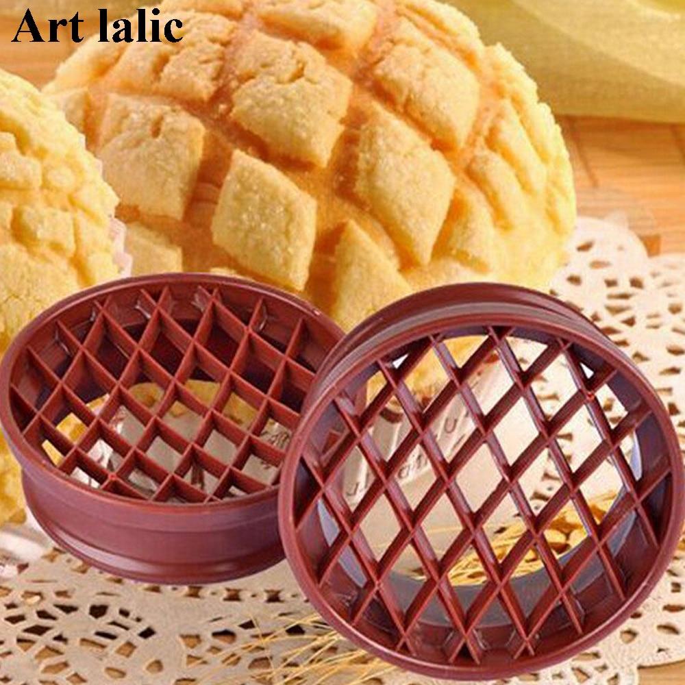 1PC de celosía de prensa de pan de molde de pan de plástico molde para hornear pastel repostería herramientas