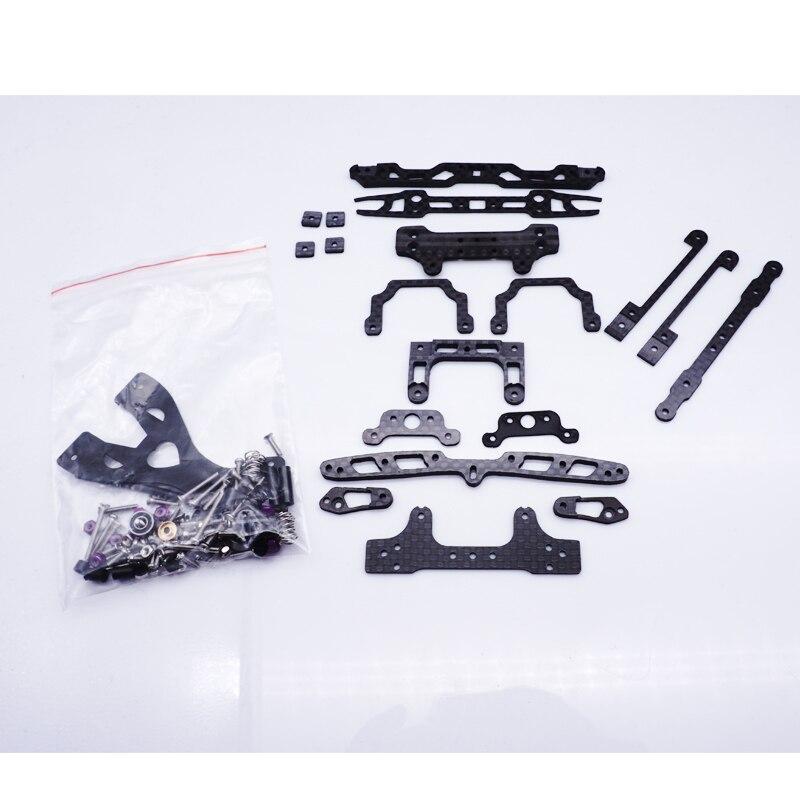 1 Juego de carbono negro MS/MSL conjunto de coche de peces oscilantes/suspensión interna conjunto de absorción de choque de resorte para coche TAMIYA MINI 4WD