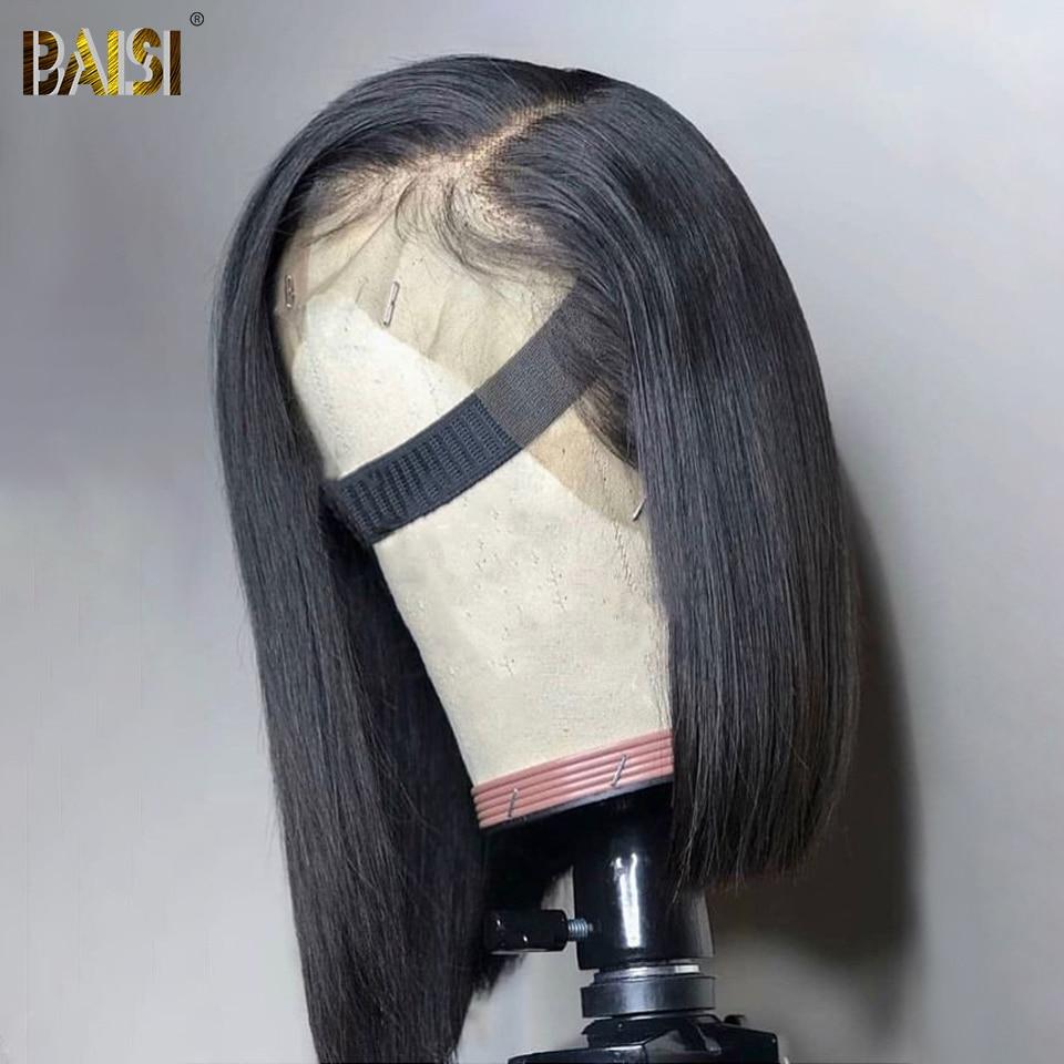 Pelo de BAISI 13x6 pelucas delanteras cortas de encaje recta 150% densidad doble dibujado brasileño pelo humano Bob peluca