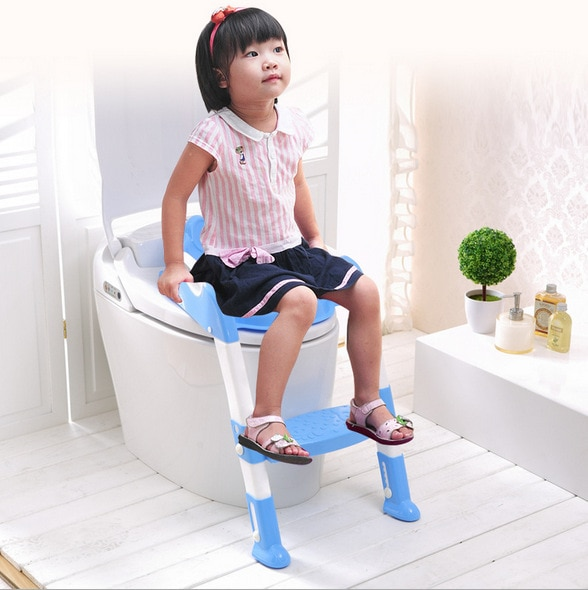 New Baby Toddler Potty Toilet Trainer Safety Seat Chair Step with Adjustable Ladder Infant Toilet Training Non-slip Folding Seat