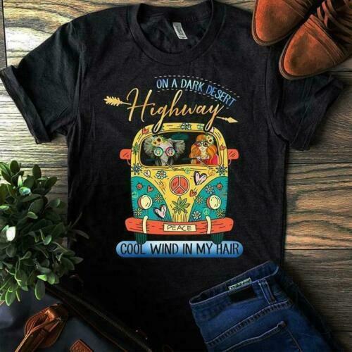 Черная футболка с надписью «On A Dark Dessert Highway Cool Wind In My Hair Hippie», Размеры M 6 Xl