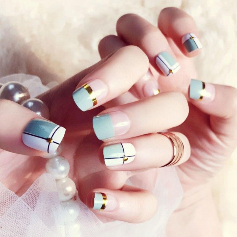 Bonitas puntas de uñas de tamaño corto para mujer, diseño de rejilla de celosía a la moda, uñas falsas para niñas, Color caramelo verde, uñas postizas de cobertura completa