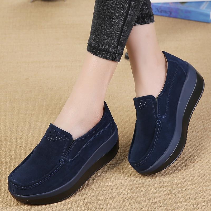 Women Flats Platform Loafers Ladies Elegant Genuine Leather Moccasins Shoes Woman Autumn Slip On Casual Women's Shoes