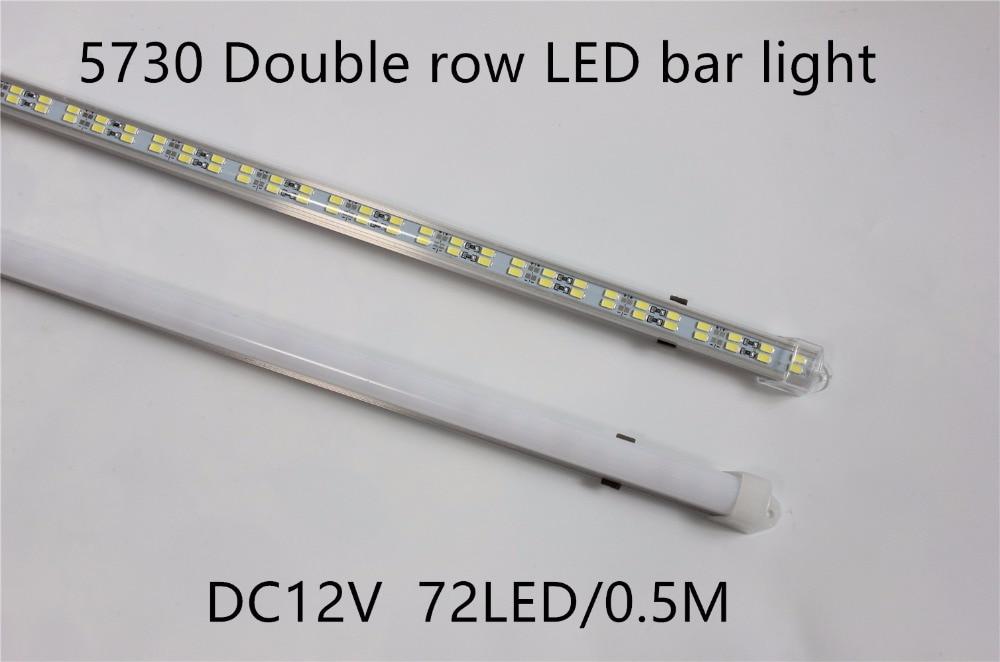 10 unids/lote 72leds 5730 Barra de luz led rígida tira de doble fila no impermeable 12V 12mm PCB 72 leds/0,5 m más brillante que 5630