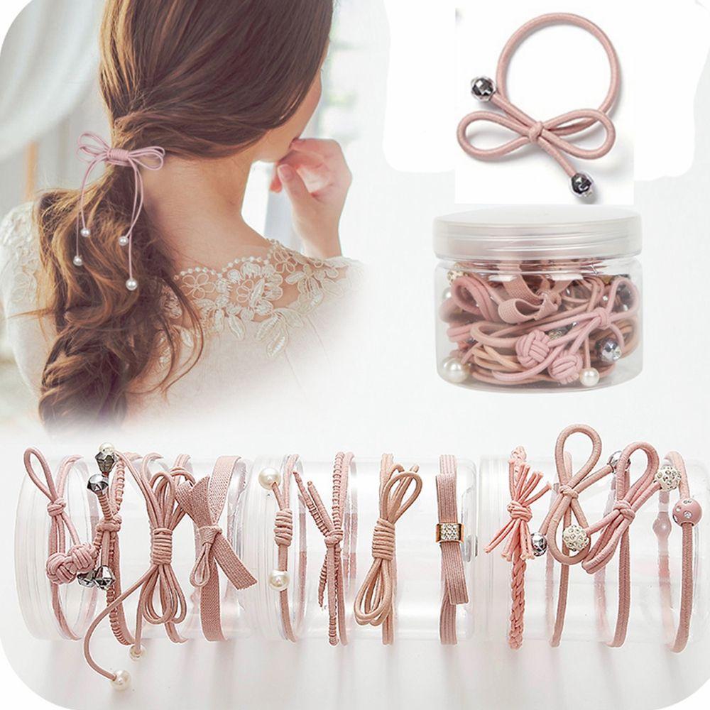 aliexpress.com - 12Pcs/bottle Korean Style Women Ribbon Bowknot Hair Ropes Elastic Hair Band Girls Rubber Band Cute Hair Ties Bow