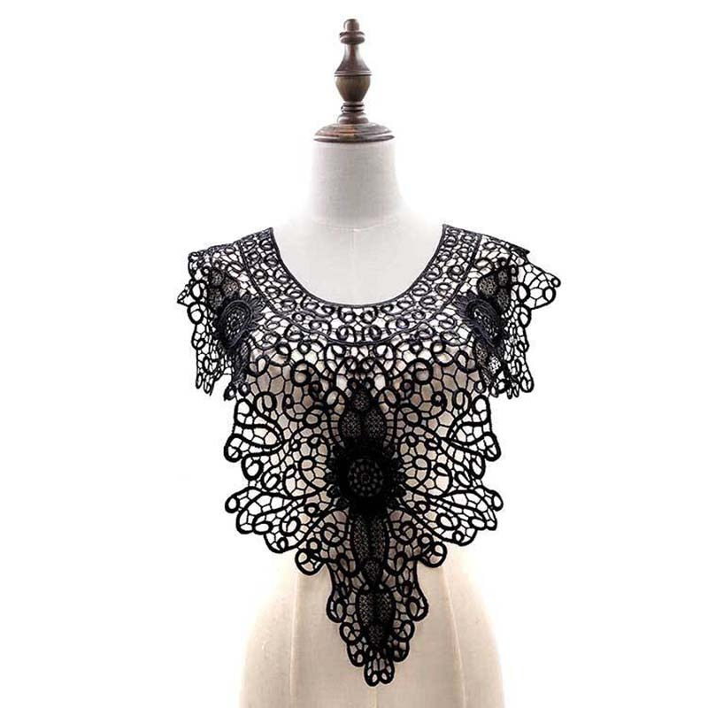 1pcs Lace Frontal Collar Embroidery Big Flowers Lace Neckline DIY Collar Lace Fabrics for Sewing Supplies Crafts Black/white/Red