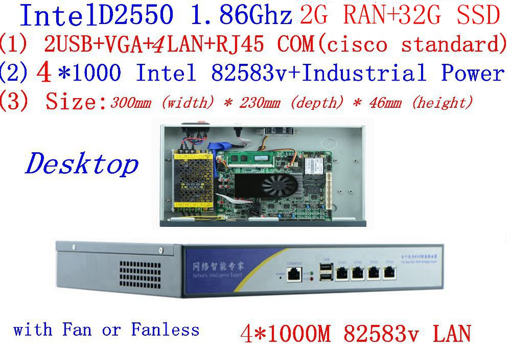 D2550 rede firewall roteador 4*82583 v lan suporte ros mikrotik pfsense panabit wayos monowall raio hi-aranha 2g ram 32g ssd
