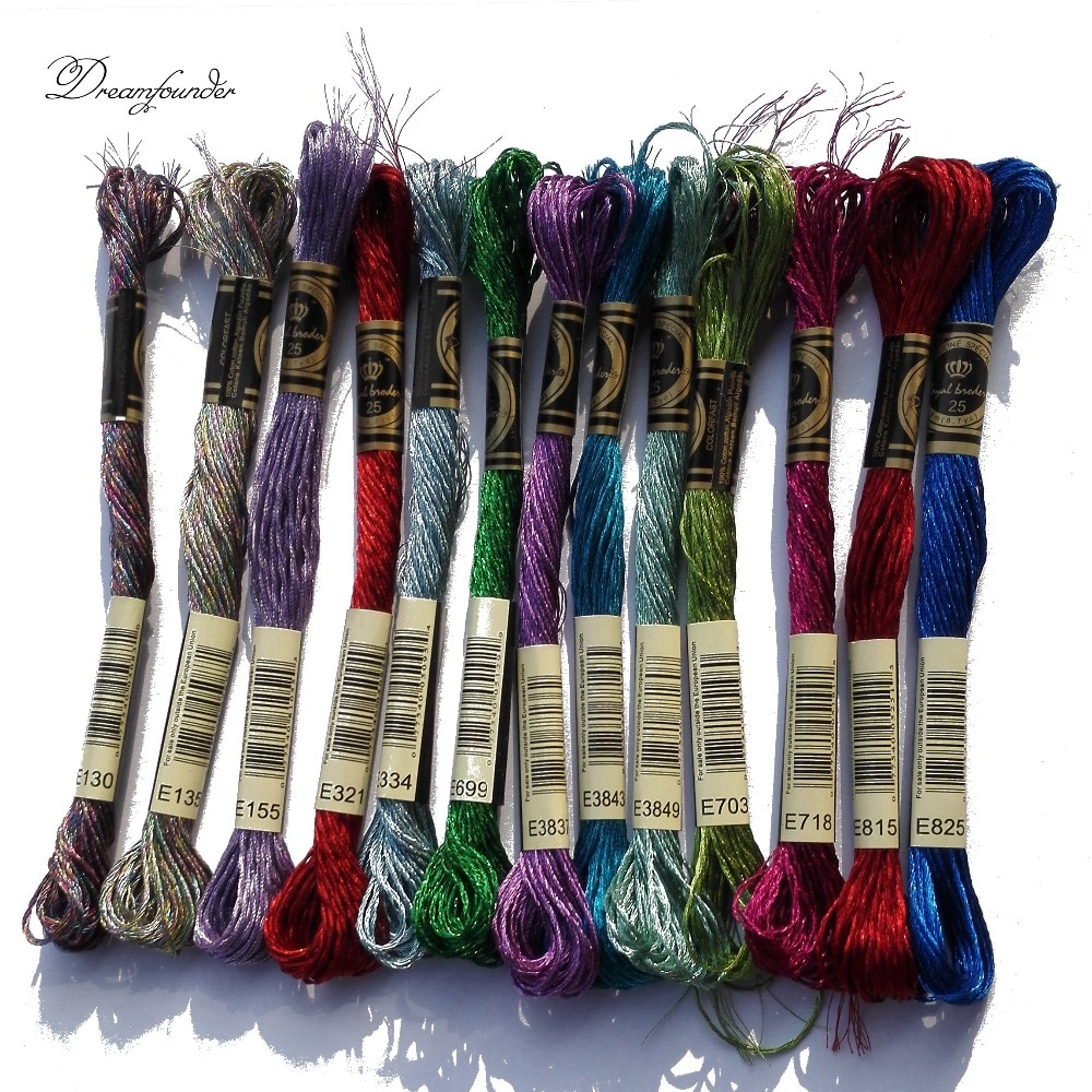 1 pcs metallic embroidery thread jewel effects E3843 E3849 E703 E718 E815 E825 cross stitch DMC floss embroidery DIY needlework