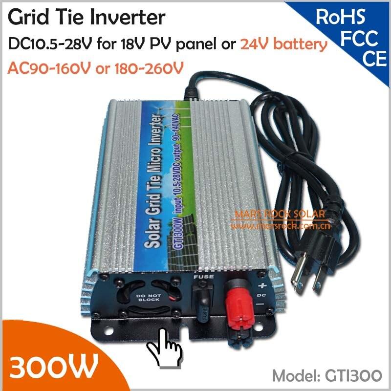 For 18V solar panel and 24V battery 300W pure sine wave grid tie solar inverter