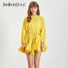 TWOTWINSTYLE-Mini robe à manches longues, coupe trapèze, taille haute à Bandage, Slim, couleur unie, mode féminine, nouveauté, été 2020