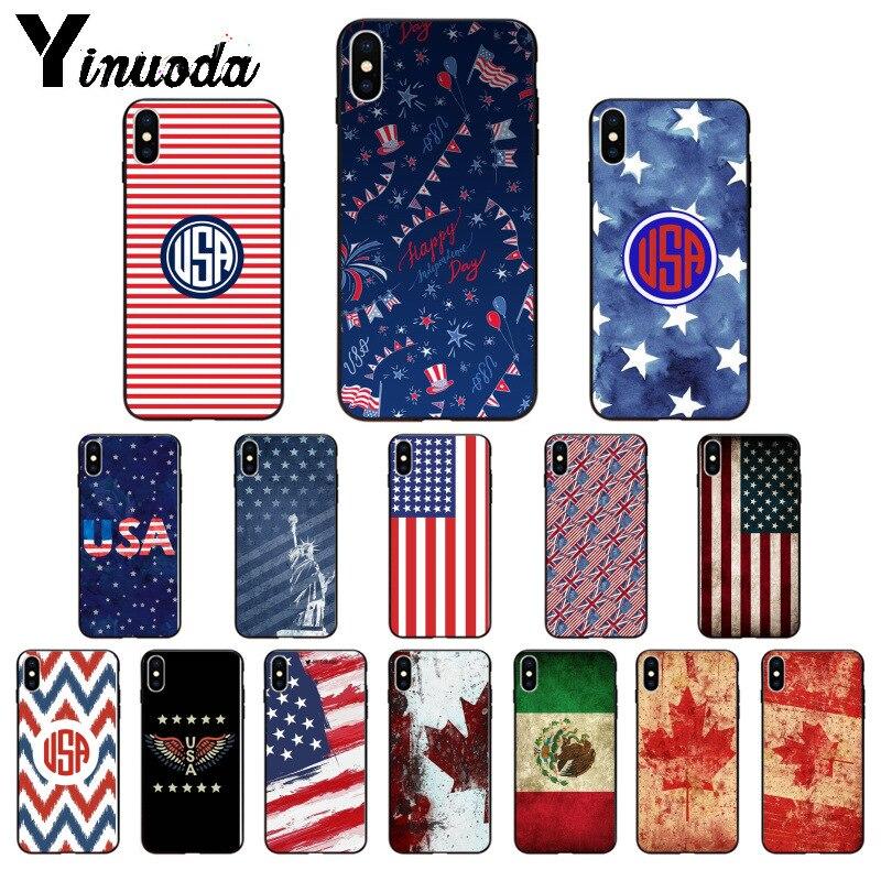 Yinuoda américa eua canadá méxico bandeira do cliente de alta qualidade caso telefone para iphone x xs max 6s 7 mais 8 8plus 5 5S se xr