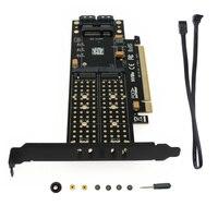 PCI-E 3.0 X16 to M.2 SSD PCIE to M2 Adapter Raiser M Key B Key mSATA 2 x 7Pin SATA Port NVME M2 SSD AHCI mSATA 3 in 1 Riser Card