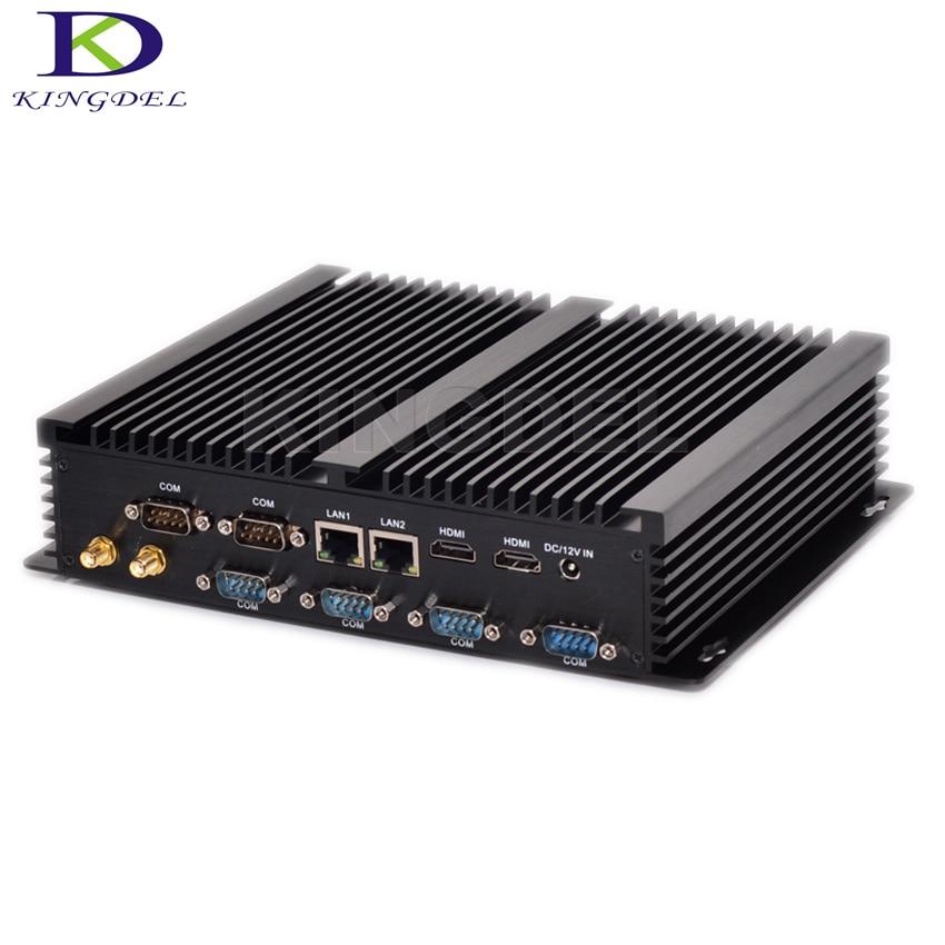 Kingdel رائجة البيع أحدث بيربون 8G RAM Win 10 بدون مروحة كمبيوتر صناعي صغير i3 4010U i5 4200U i7 5550U ثنائي LAN 6 RS232