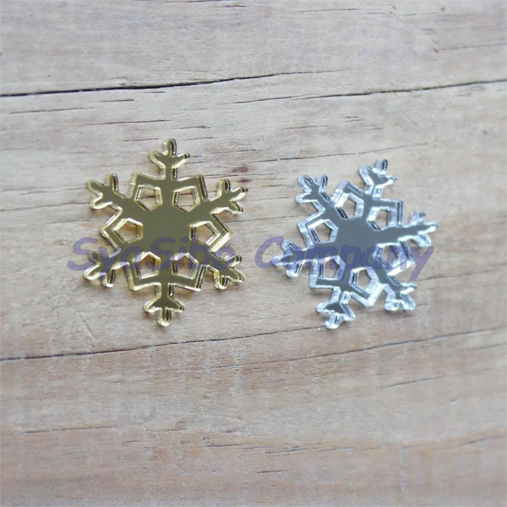 """(2 colores, 60 unidades por lote) adornos acrílicos de copos de nieve de 20mm, accesorios, espejo dorado, recorte láser de espejo plateado de 0,8 """"-AC1415"""