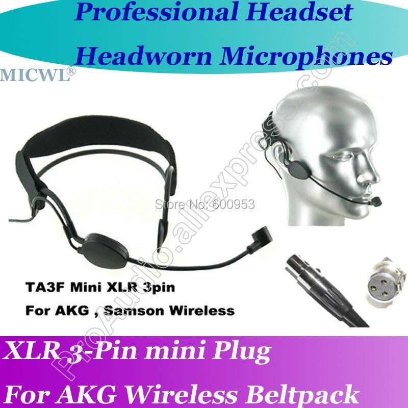 Micwl-microfone com fone de ouvido mini me3, 3pin, sem fio, headset para akg, samson gemini