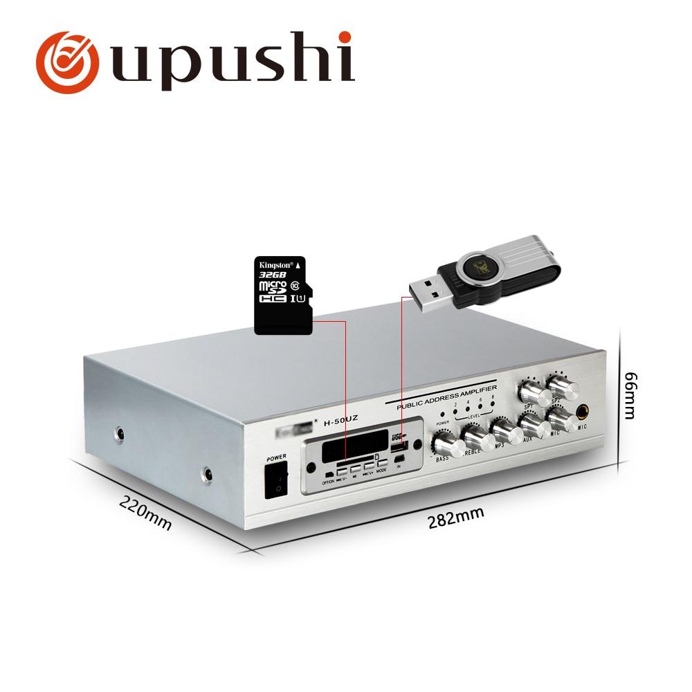 Amplificador de equipo de música bluetooth Oupushi pa system 50w mini amplificador de alimentación pequeño con USB, tarjeta SD, FM