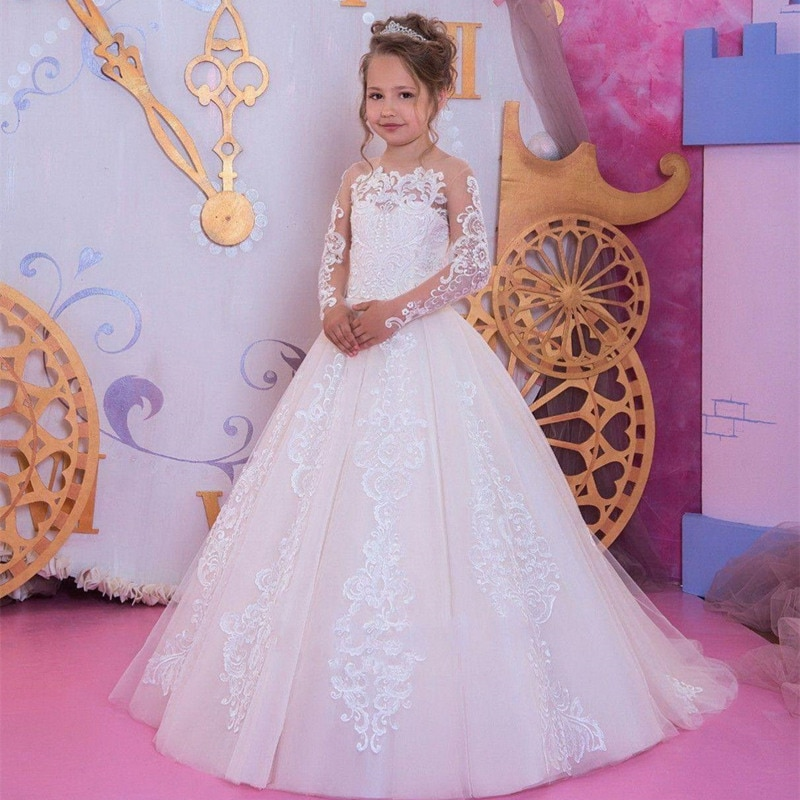 Nowe kwiatowe sukienki dla dziewczynek pierwsza komunia sukienki dla dziewczynek aplikacja z koralikami dla dzieci suknie wieczorowe