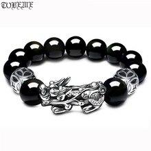 3D 999 argent Pixiu perles Bracelet obsidienne perle richesse Pixiu Bracelet Fengshui bonne chance Bracelet