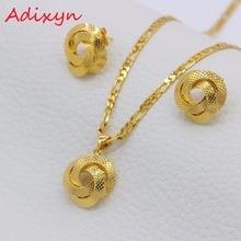 Adixyn Light Dubai collier/boucles doreilles/pendentif parure de bijoux pour femmes/filles/enfants mode métal russie bijoux cadeaux N01206