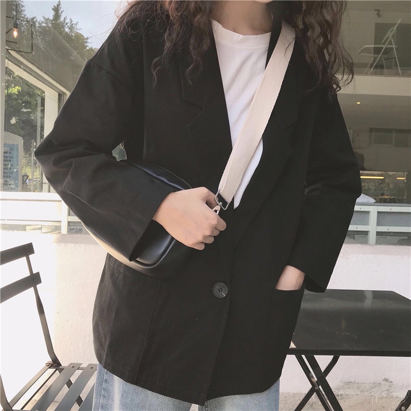 Blazers Women Solid Colour Simple Single Button Loose All-match Students Outside Womens High Quality Trendy Ladies Korean Chic