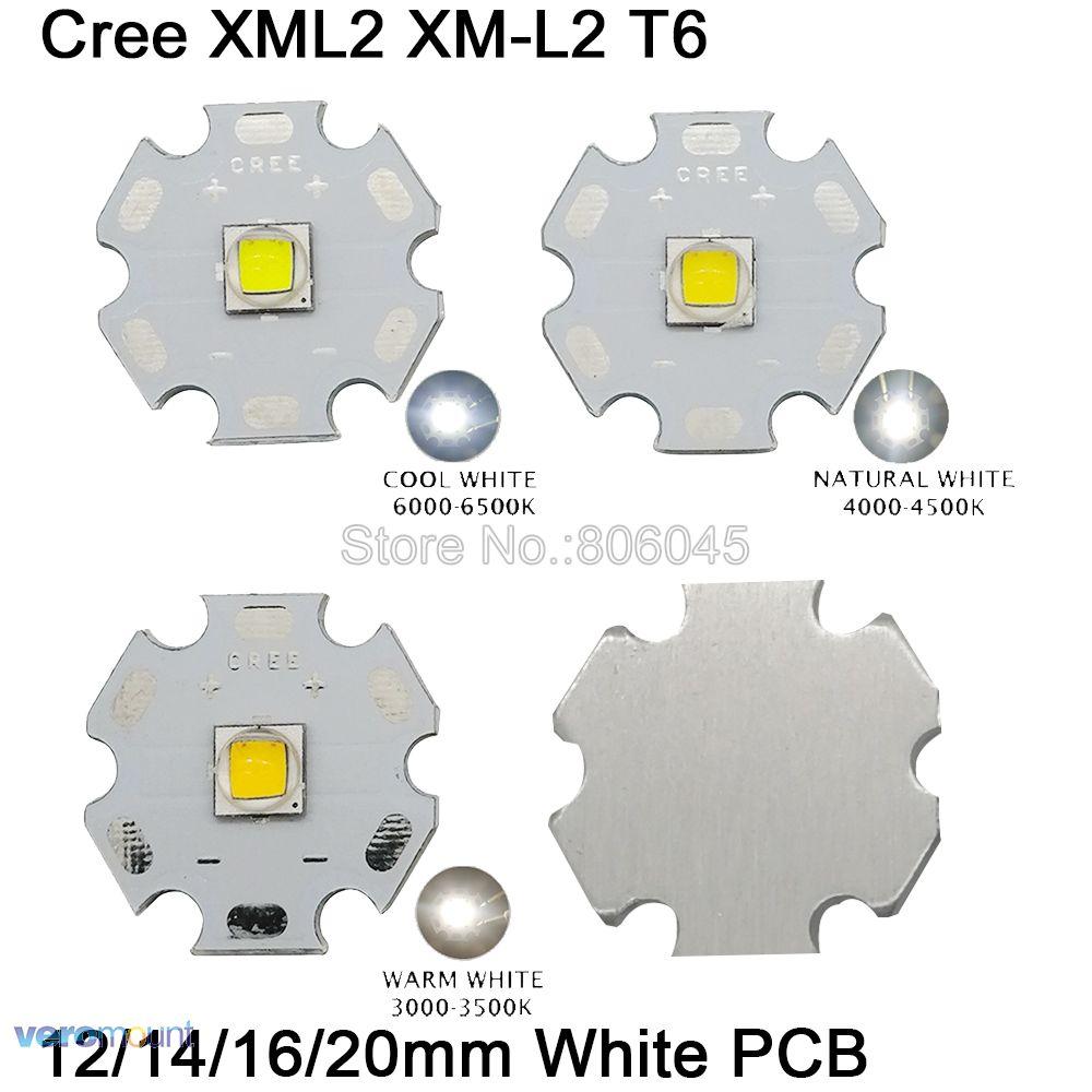 CREE XML2 XM-L2 T6 Cool White Neutral White Warm White High Power LED Emitter Diode Chip 12mm 14mm 16mm 20mm White Aluminum PCB
