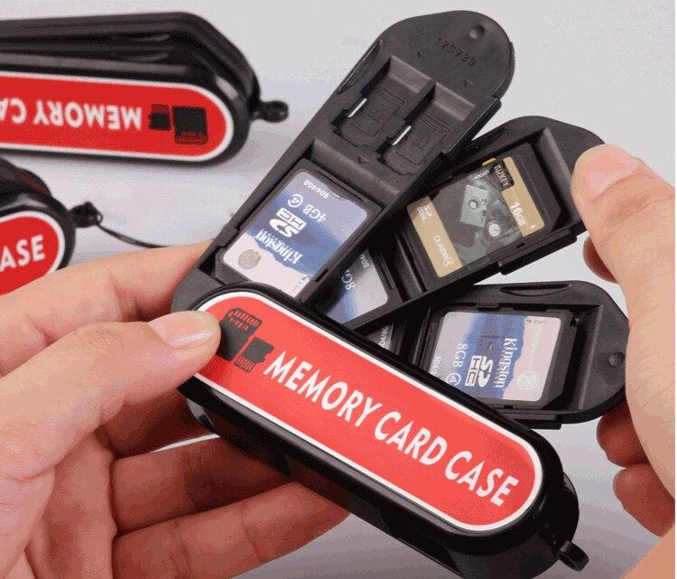 Caixa de cartão para cartão SD TF Memory Card Case Holder loja SIM cartões NANO Anti-choque CASO De Armazenamento Para sony canon câmera gopro