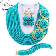 Marque Laanc Aqua bleu nigérian mariage perles africaines ensemble de bijoux cristal mariées demoiselle dhonneur ensembles de bijoux de mariée 10R3H001