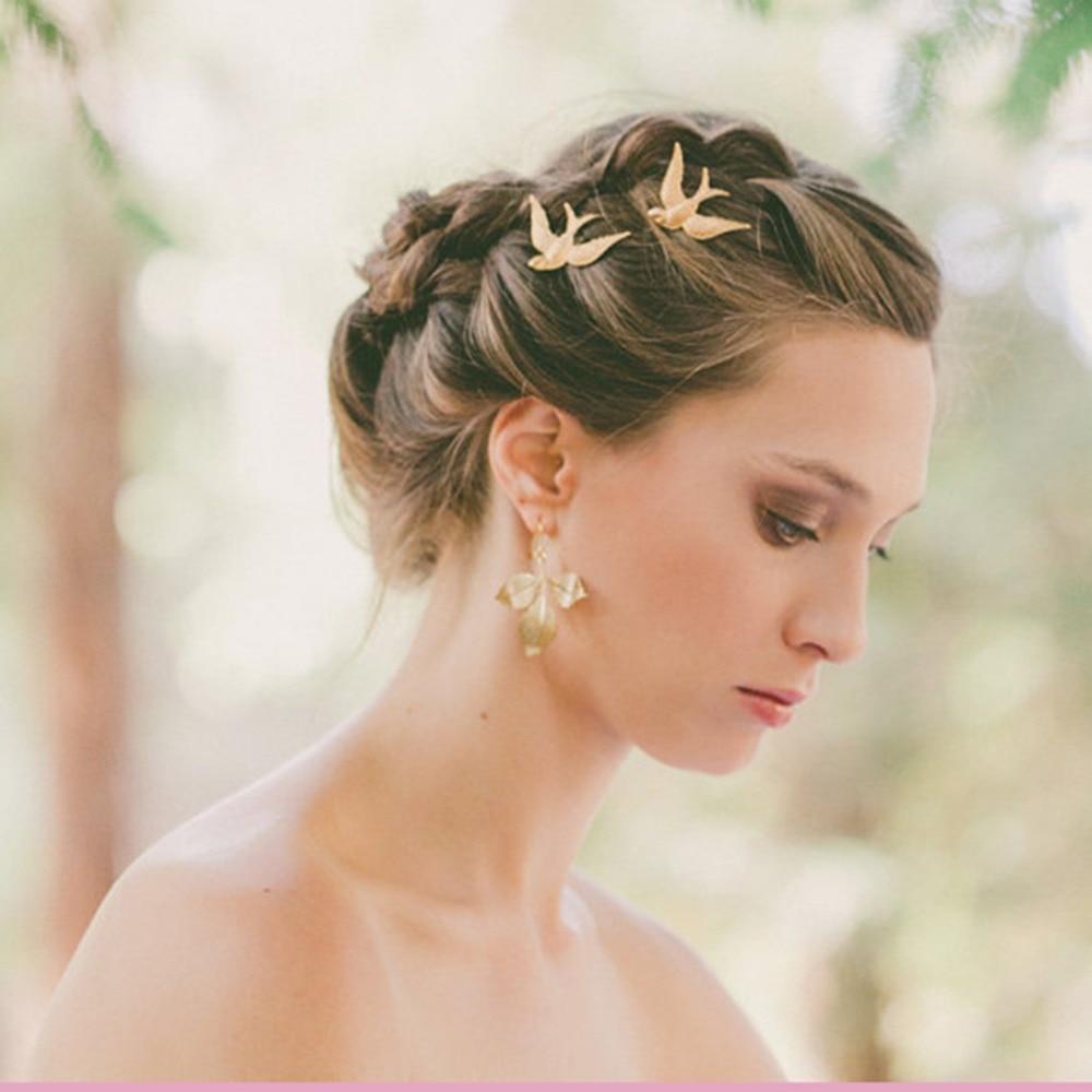 Grampos de cabelo, acessório para festa de casamento 2 pçs/set grampos de cabelo nova colorida estilo pássaro para noiva