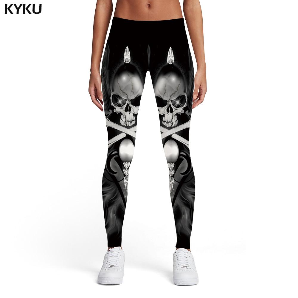 KYKU Brand Skull Leggings Women Skeleton Printed pants Feather 3d Print Black Ladies Military Elastic Womens Pants