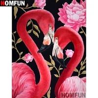 HOMFUN     peinture diamant theme  Animal flamingo   broderie complete 5D en resine  points de croix  a faire soi-meme  decoration dinterieur  A18900