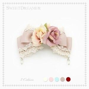 Sweet Lolita lace rose headwear lovely bow hairpin Vintage flowers Brooch SweetDreamer