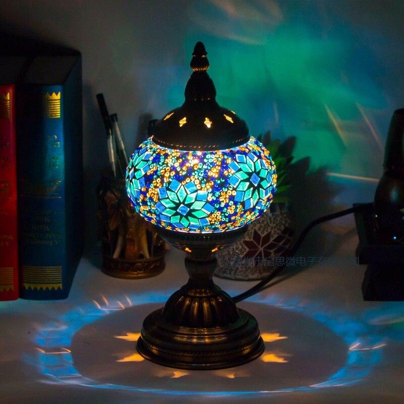 Средиземноморский стиль арт-деко Турецкая мозаичная настольная лампа ручная работа мозаика стеклянная романтическая кровать светильник