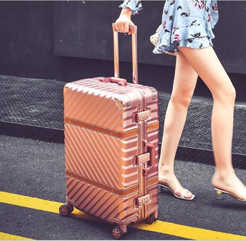 Maleta de equipaje rodante Vintage, 20 maletas, 24, 26, 29 maletas, marco de aluminio, carrito de viaje, caja de Cinturón de piel de oveja, mala valis XL014