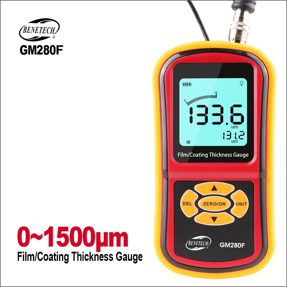 BENETECH Thickness Gauge Eddy Current Digital Film/Paint Coating Thickness Gauge Tester Range 0~1500um Metal Thickness Gauge