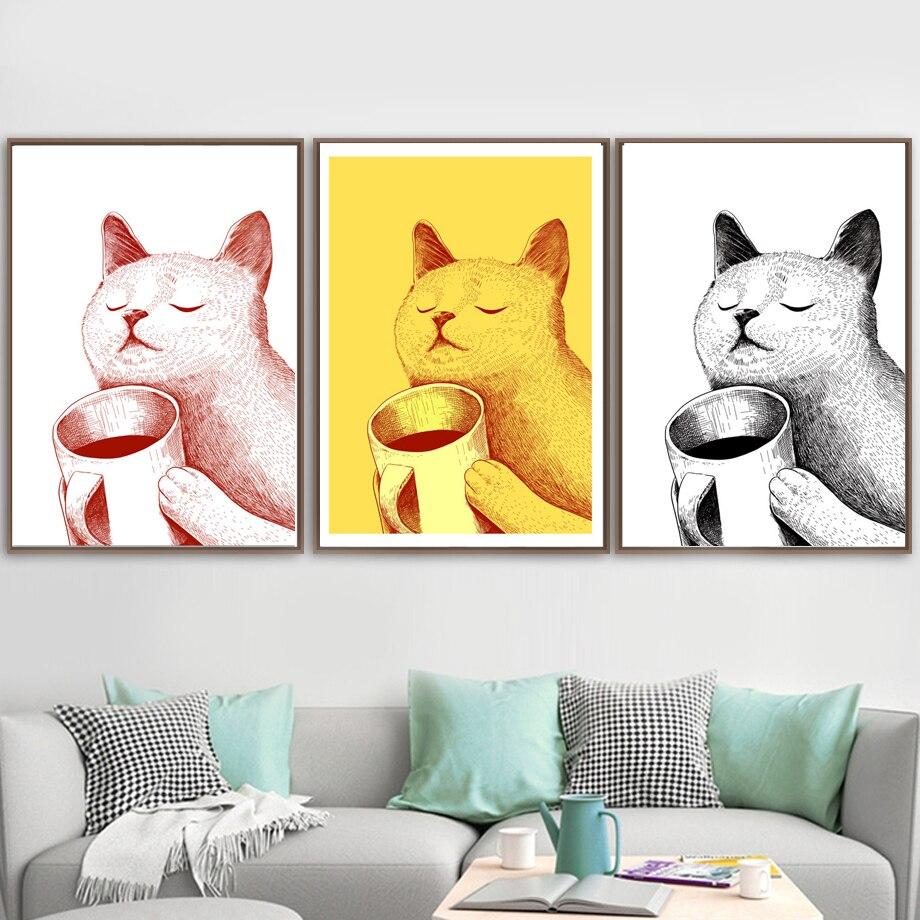 Красочные чашки кошки Наслаждайтесь жизнью настенная живопись холст животные скандинавские постеры и принты настенные картины для гостин...
