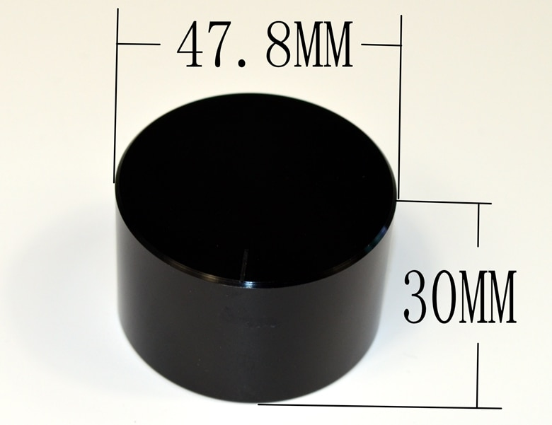 Perilla amplificadora volumen potenciómetro perilla negra diámetro 48mm altura 30mm cilíndrica sólida todo aluminio con indicador