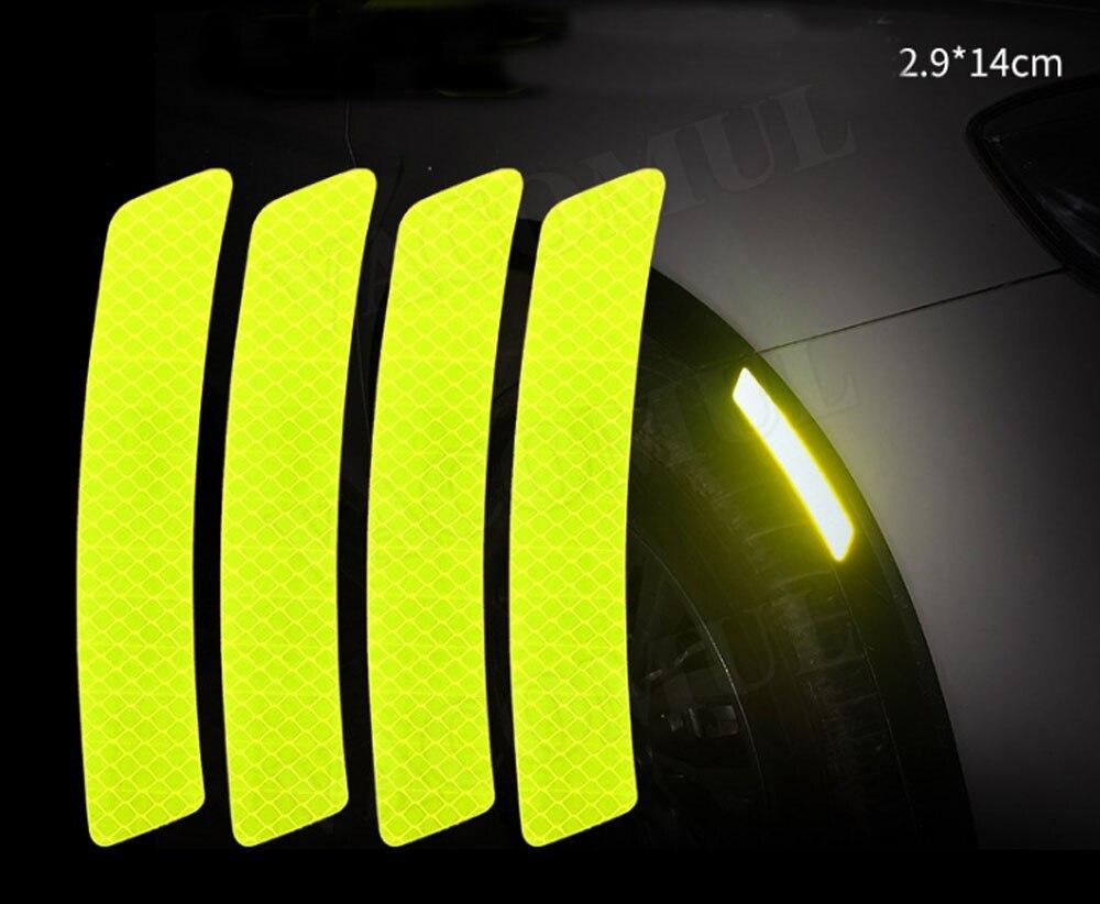 Parachoques de maletero de coche, luz de advertencia de seguridad, Reflector, pegatinas protectoras, tira de advertencia reflectante de cejas de rueda para VW para BMW