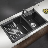 sus304 stainless steel black thickened brushed manual sink double trough package kitche basin sink nano double basin undermount