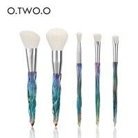 O.TWO.O 5pcs Diamond Makeup Brushes Set Cosmetics Powder Eye Shadow Foundation Blush Blending Make Up Brush Maquiagem