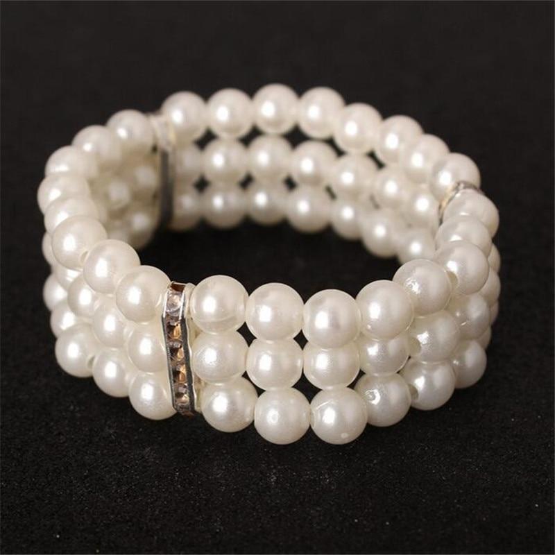 Natural branco Pérola Pulseiras para Mulheres Presentes da Jóia da forma Artesanal 8 MM de Água Doce Branco Pérola Pulseiras Atacado