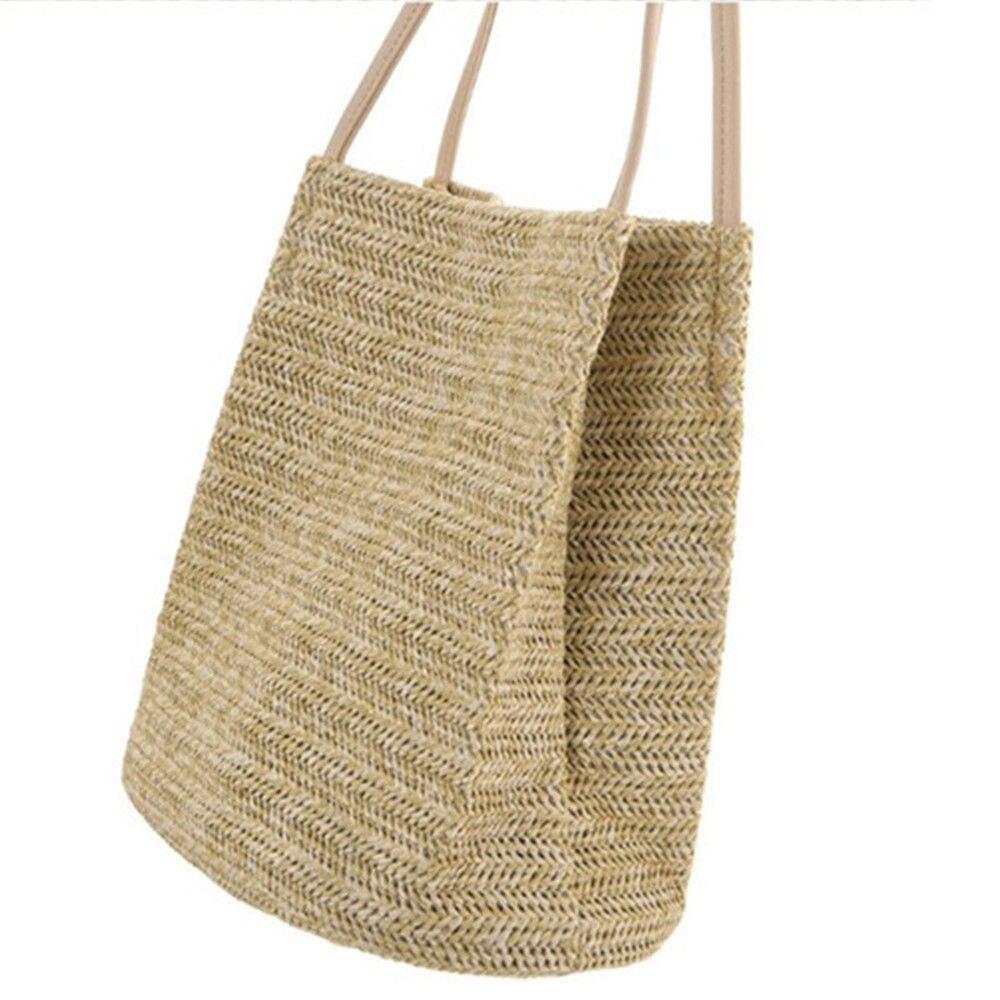 Straw Handbags Women Handwoven Round Corn Straw Bags Natural Chic Hand Large Summer Beach Tote Handle Handmade Summer