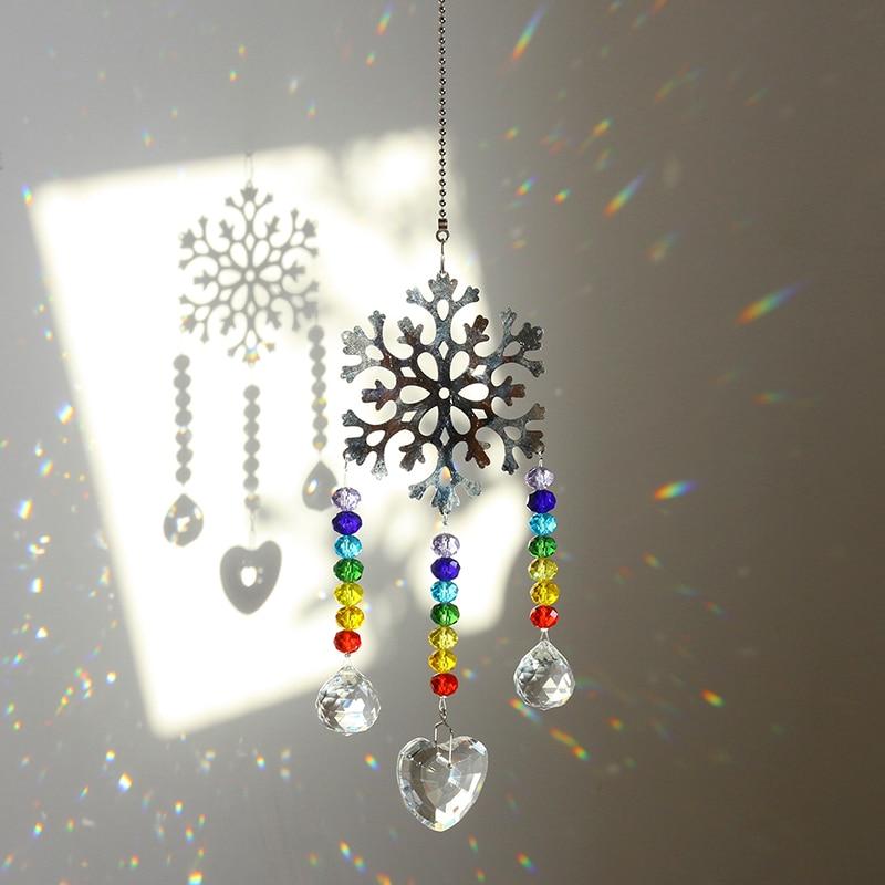H & D atrapasol de cristal Chakra cuentas de colores copo de nieve adorno colgante de ventana atrapasol arcoíris para el día de Navidad, decoración de la boda